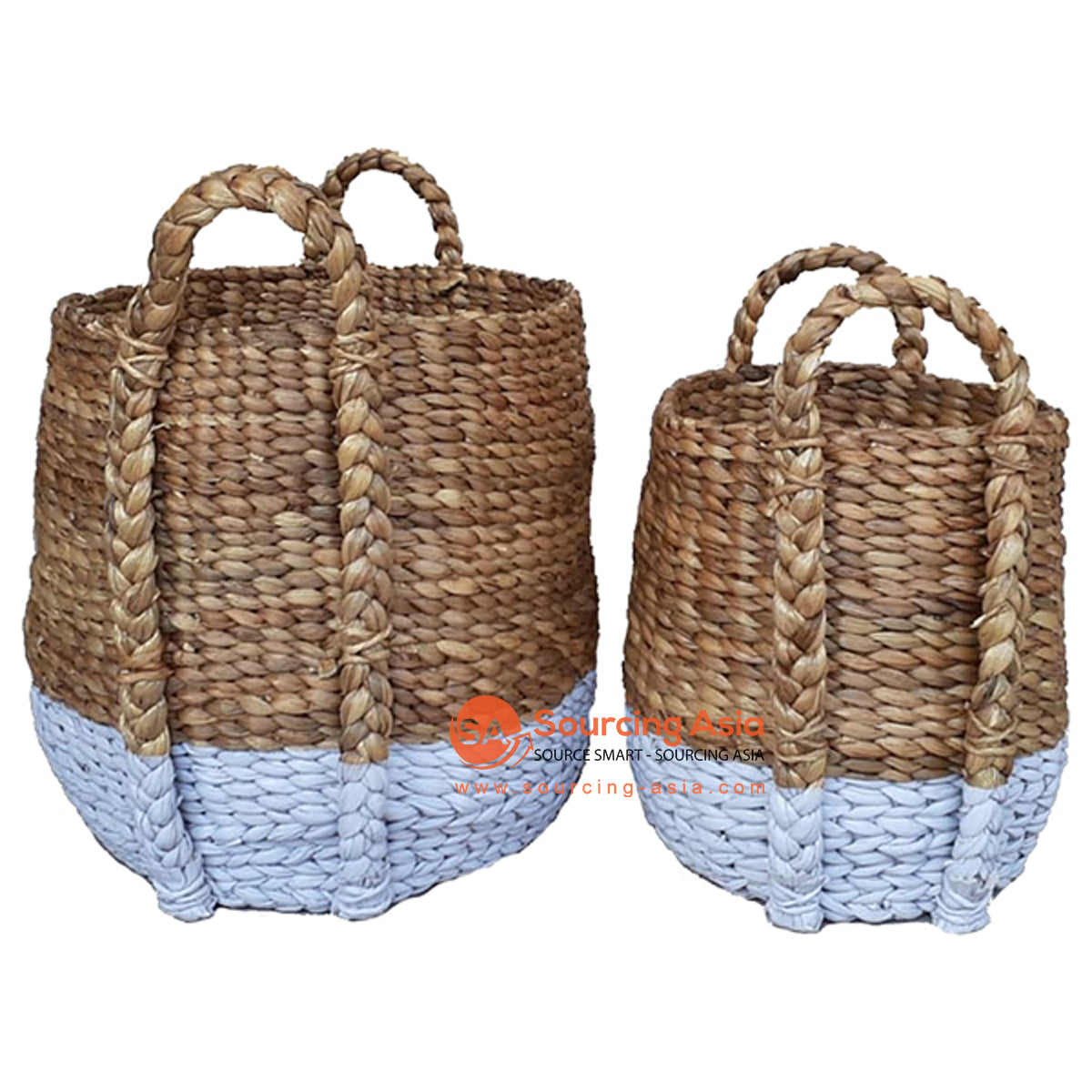 SHL168-2 SET OF TWO BROWN AND WHITE WATER HYACINTH BASKETS