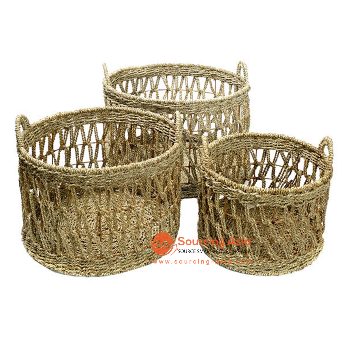 SHL168-4 SET OF THREE SEAGRASS BASKETS