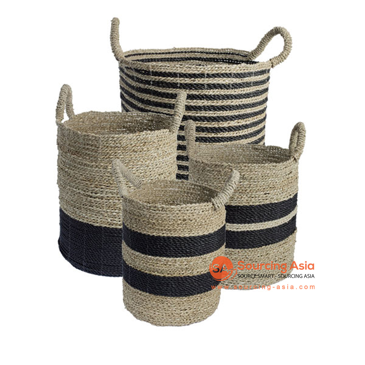 SHL168-6 SET OF FOUR NATURAL AND BLACK SEAGRASS BASKETS