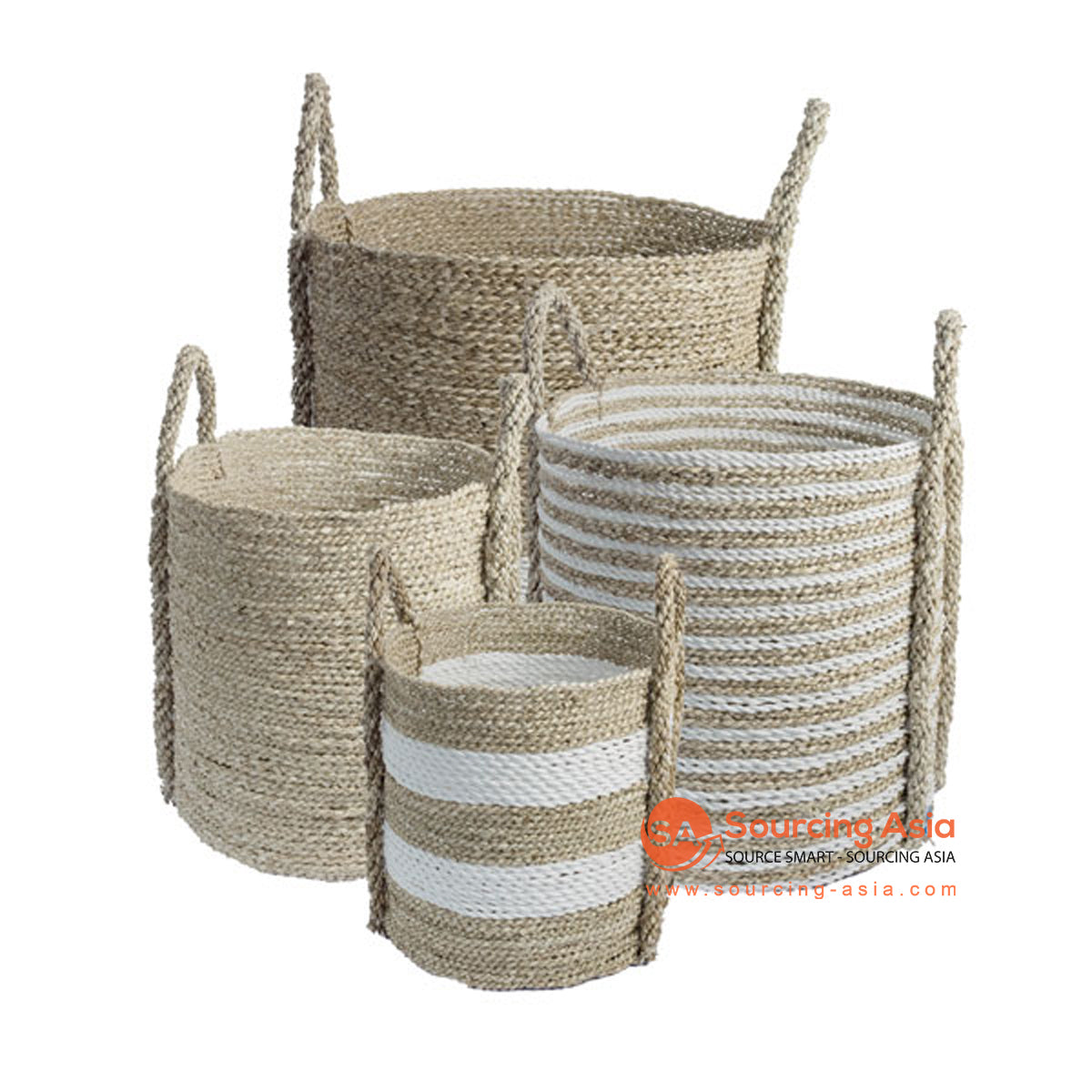 SHL168-7 SET OF FOUR NATURAL AND WHITE SEAGRASS BASKETS