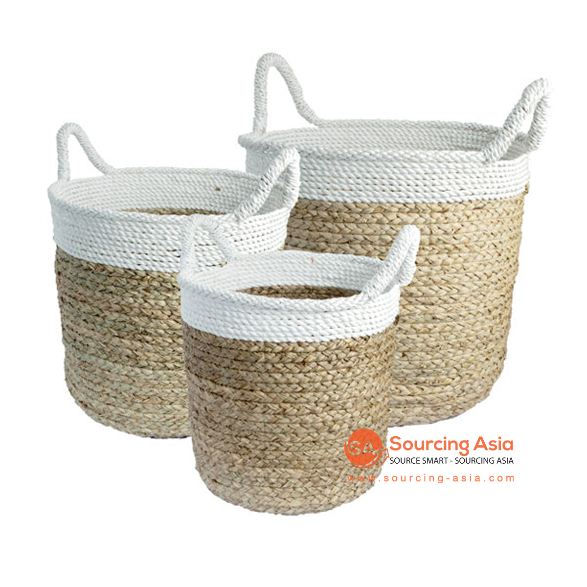 SHL168-8 SET OF THREE MENDONG BASKETS WITH WHITE EDGES