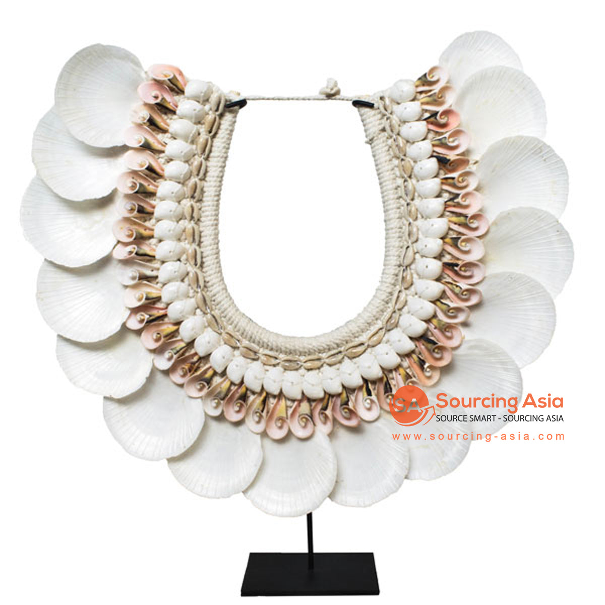 SHL169-2 SHELL NECKLACE DECORATION WITH BLACK STAND: