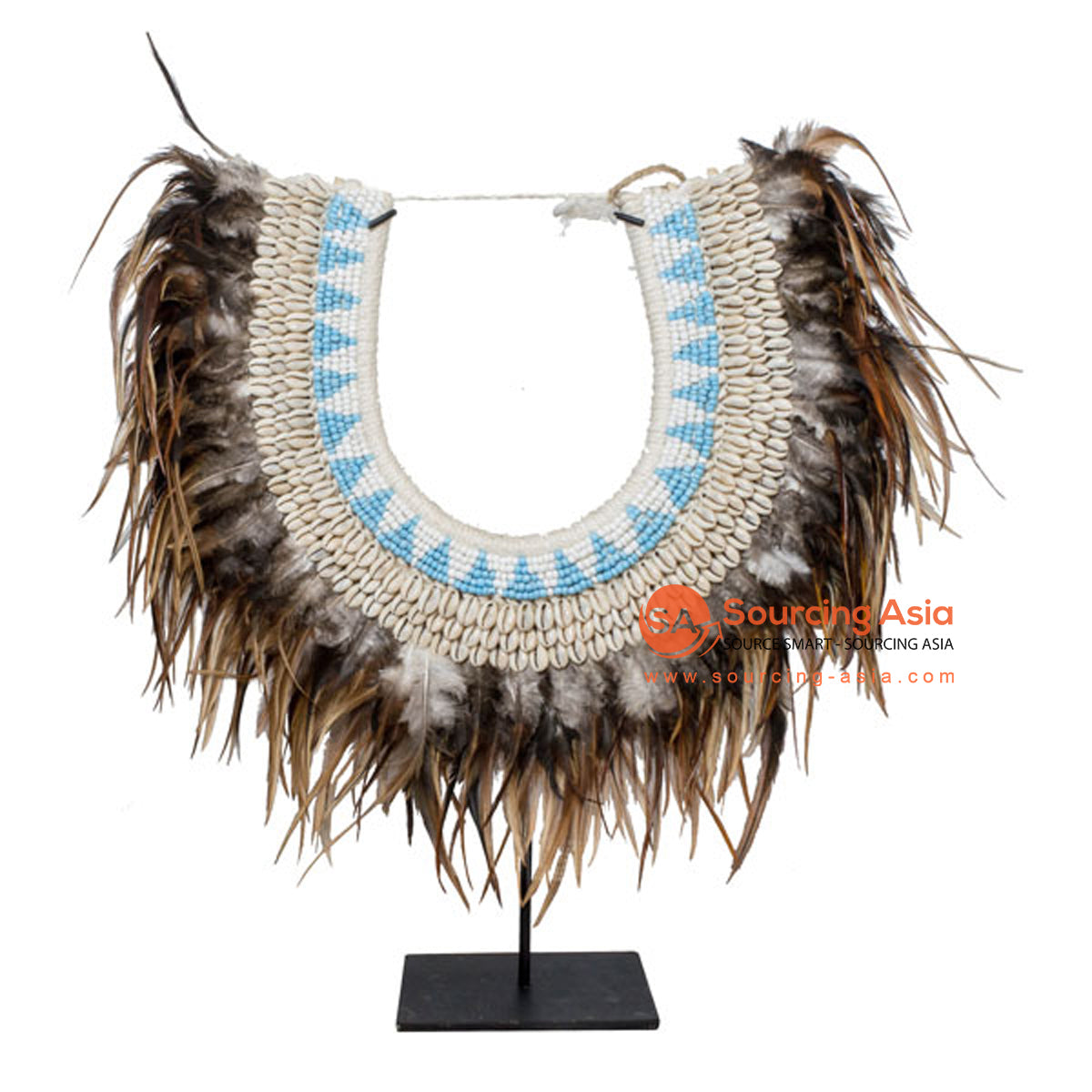 SHL169-9 FEATHERS AND SHELL NECKLACE DECORATION WITH BLACK STAND