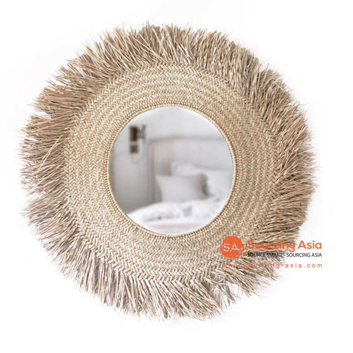 SHL172-1 LARGE NATURAL ROUND MENDONG MIRROR