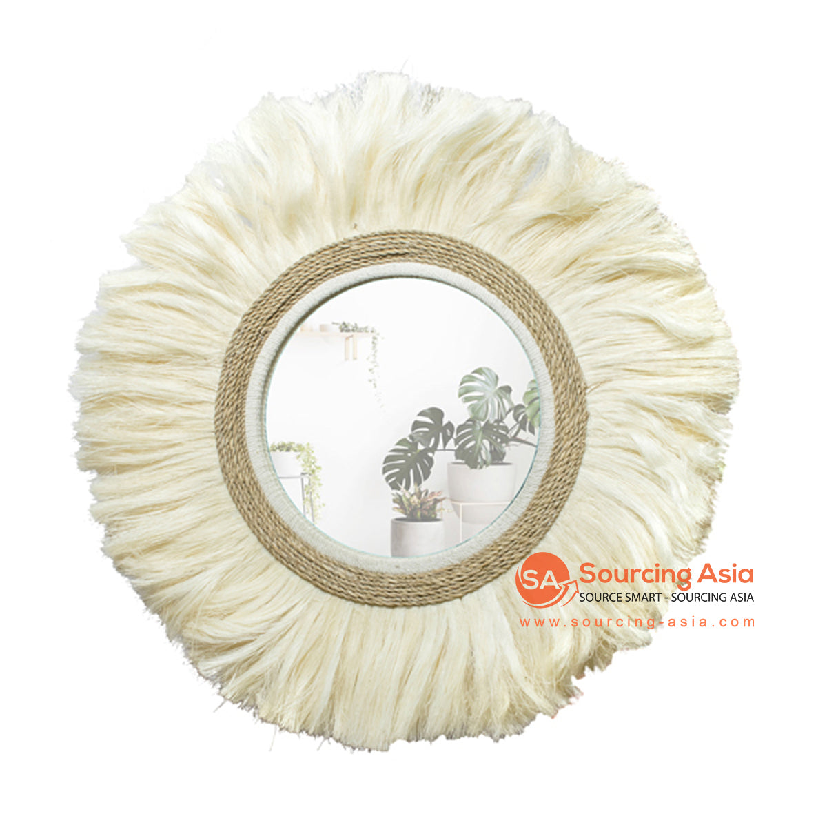 SHL172-4 NATURAL ROUND RAFFIA MIRROR