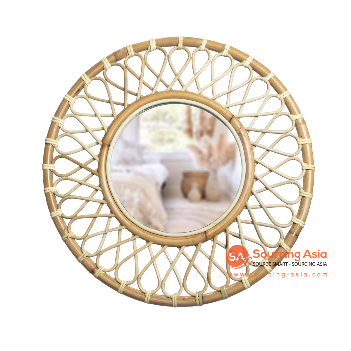 SHL173-1 NATURAL ROUND RATTAN MIRROR