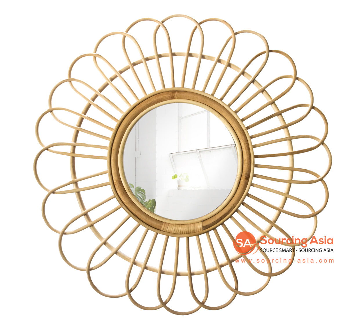 SHL173-2 NATURAL RATTAN ROUND MIRROR