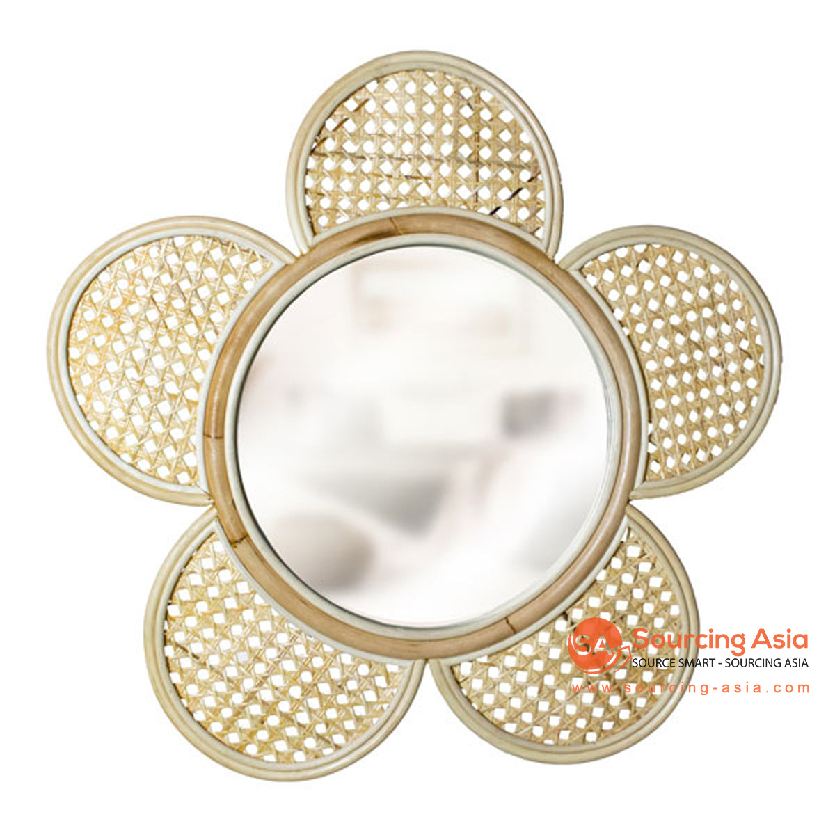SHL173 NATURAL RATTAN FLOWER MIRROR