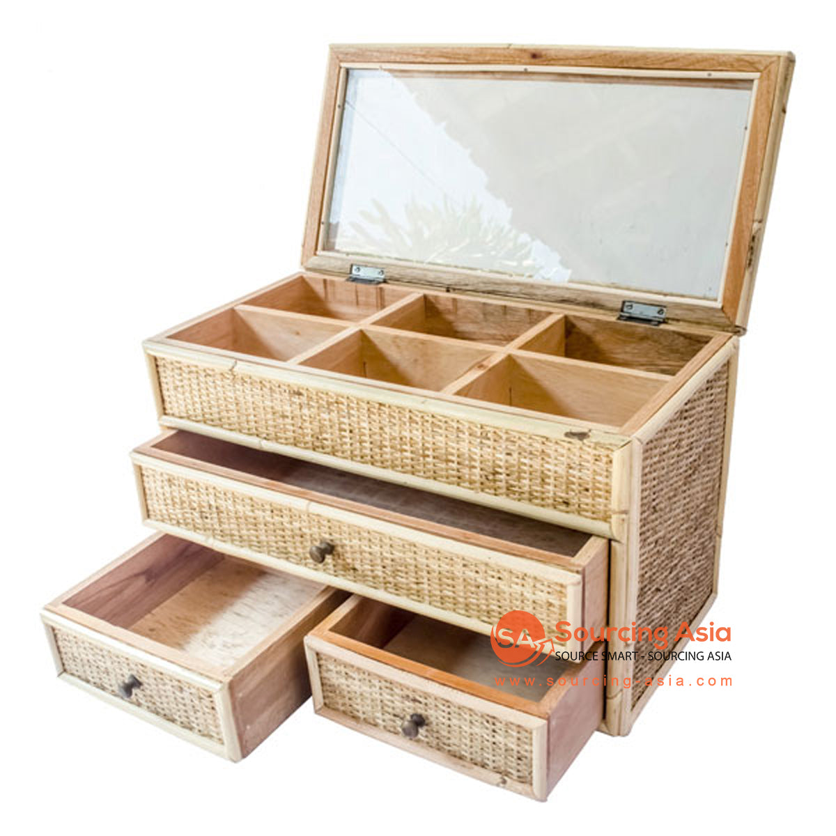 SHL186-1 RATTAN JEWELRY BOX WITH 3 DRAWERS