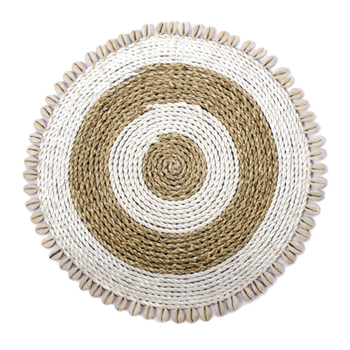 SHL187-8 NATURAL RAFFIA PLACEMAT WITH SHELL FRINGE
