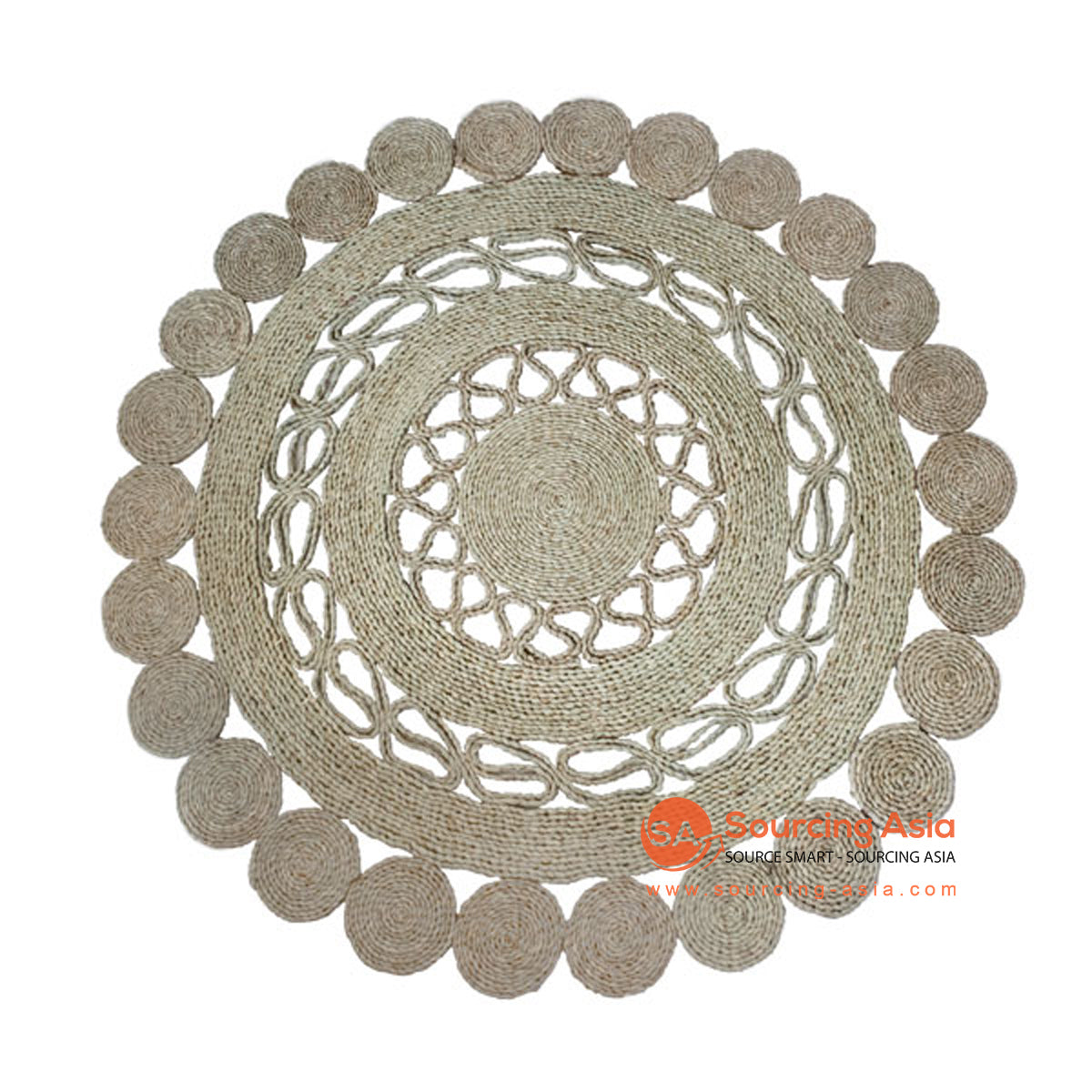 SHL190-1 NATURAL SEAGRASS DECORATIVE ROUND RUG
