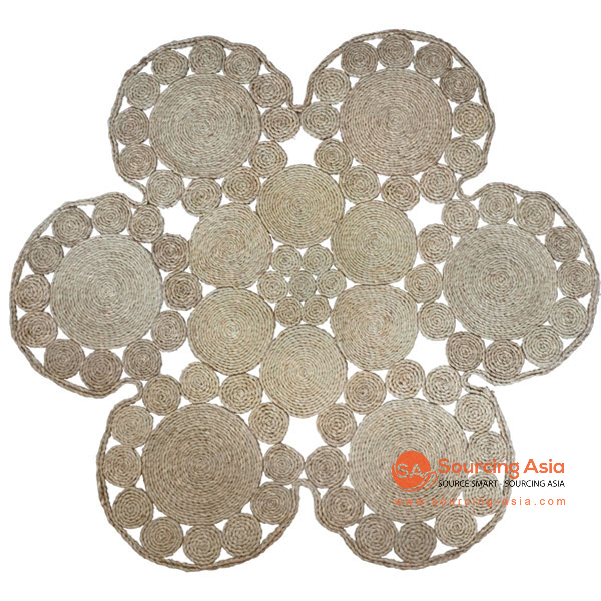 SHL190-2 NATURAL SEAGRASS DECORATIVE ROUND RUG