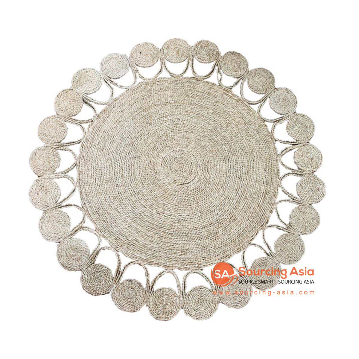 SHL190 NATURAL SEAGRASS DECORATIVE ROUND RUG