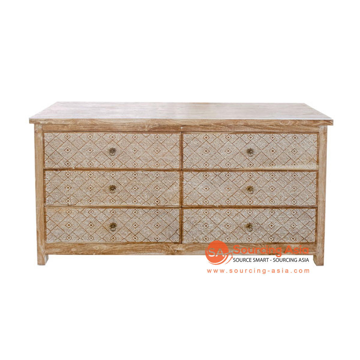 SHL195 NATURAL TEAK WOOD SIX DRAWERS BUFFET