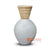 SHL207-10 WHITE TERRACOTTA VASE WITH RATTAN DECORATION
