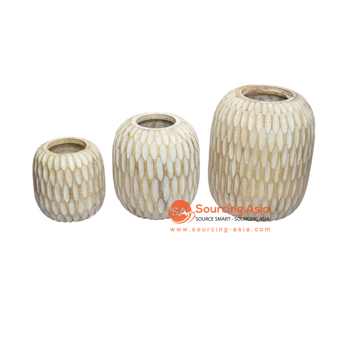SHL207-6 SET OF THREE WHITE WASH CARVED WOODEN VASES