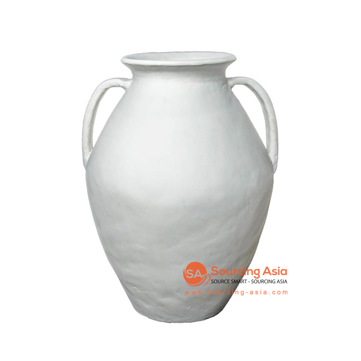SHL207-8 WHITE TERRACOTTA VASE WITH HANDLE