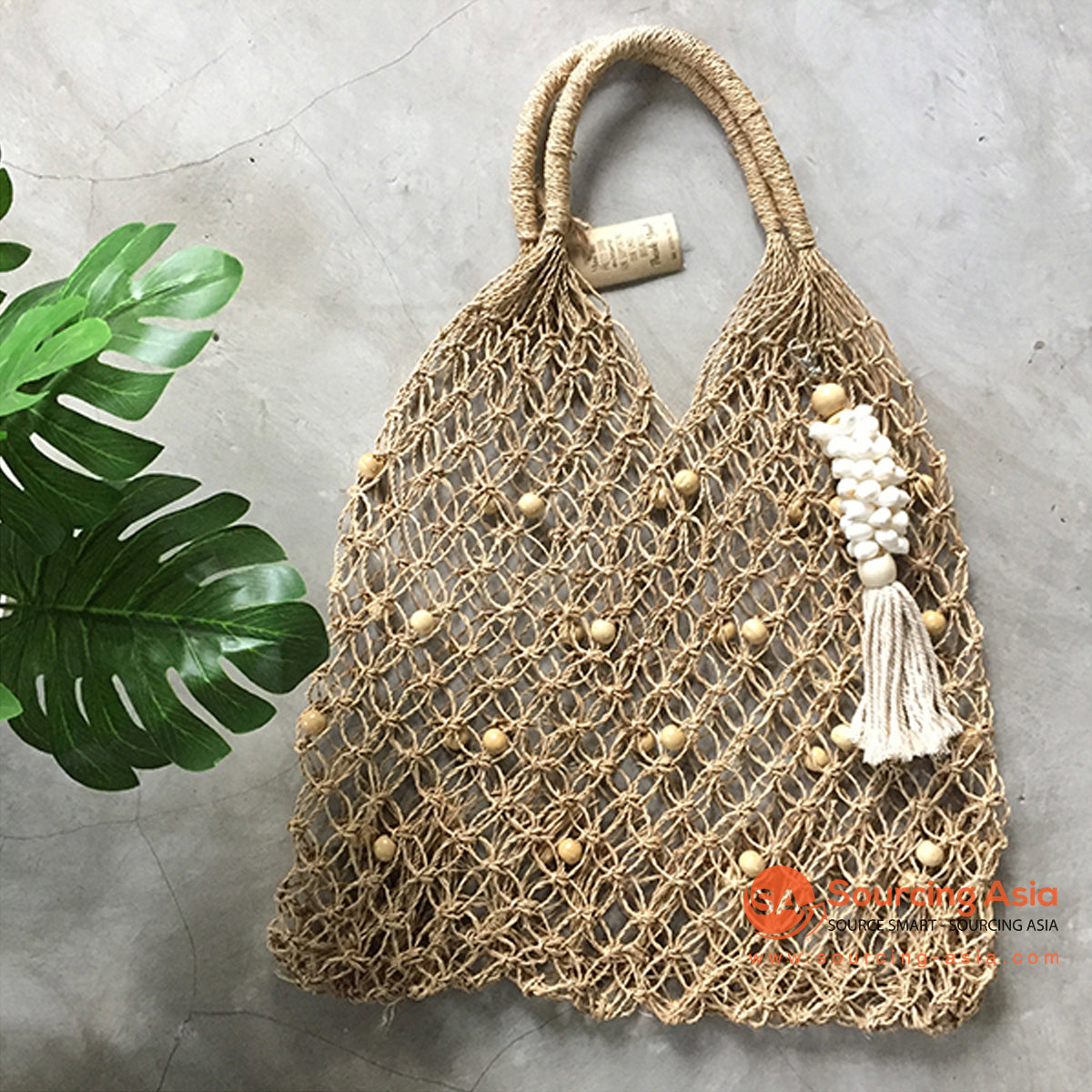 SHL210 NATURAL AGEL TOTE BAG WITH WOODEN BEADS DECORATION