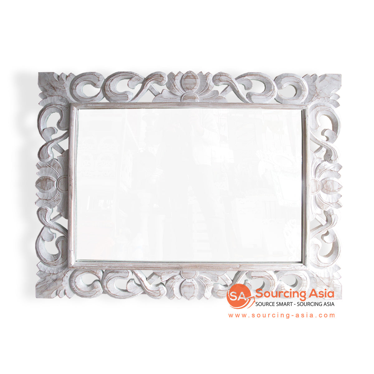 SSU012-110 WOODEN MIRROR WITH CARVING