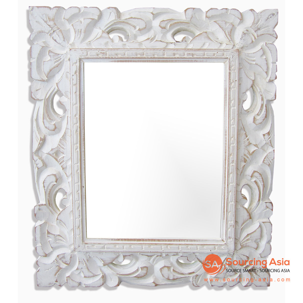 SSU022WW-33X38 WOODEN MIRROR WITH CARVING