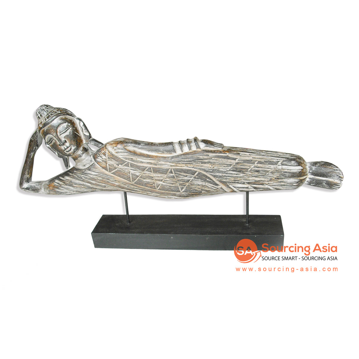STWD019-60BRW SLEEPING BUDDHA ON STAND