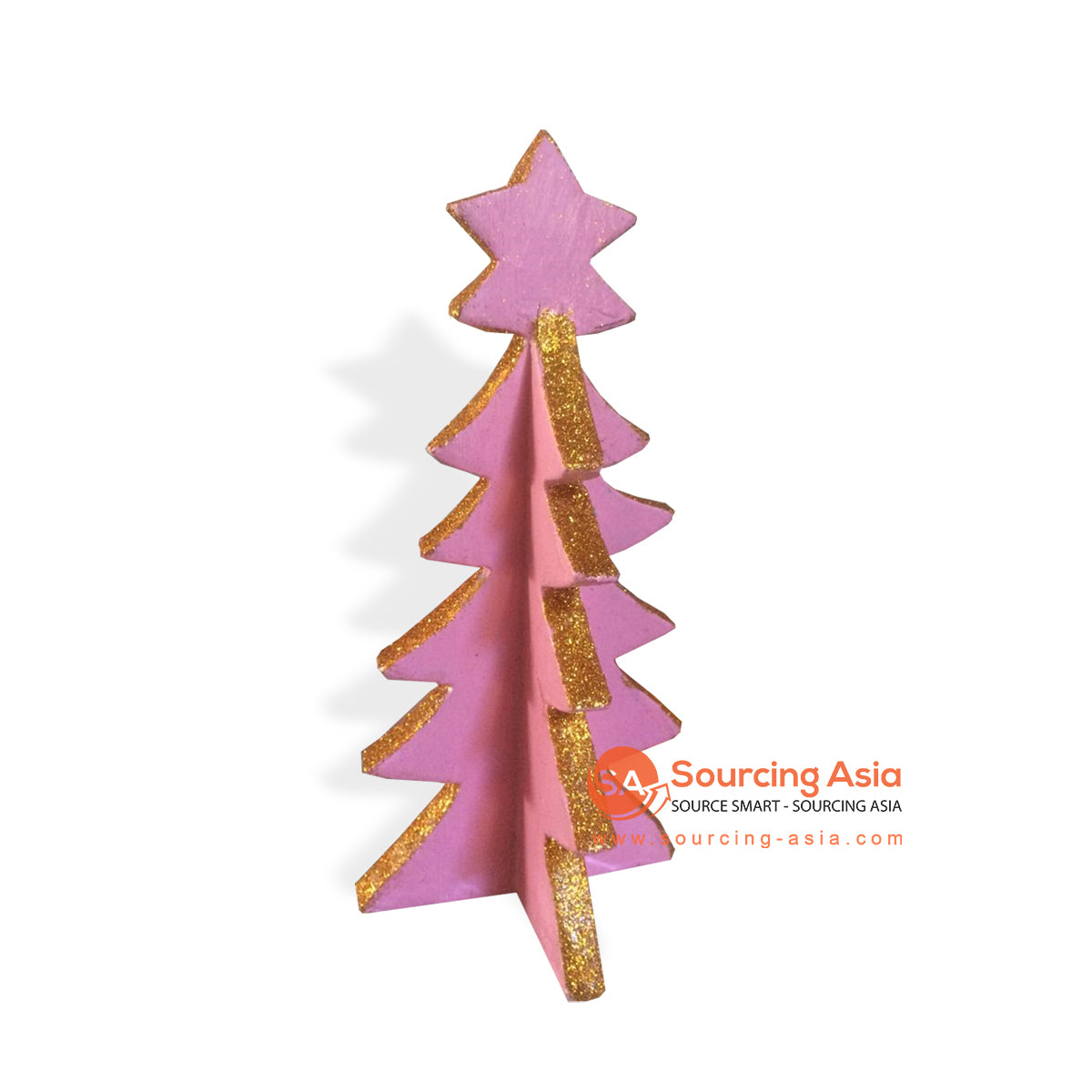 SUMAR091-2 WOODEN CHRISTMAS TREE PINK