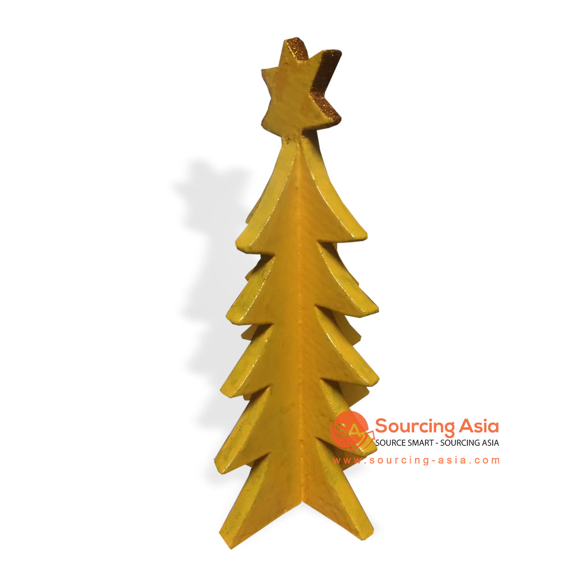 SUMAR092-1 WOODEN CHRISTMAS TREE YELLOW