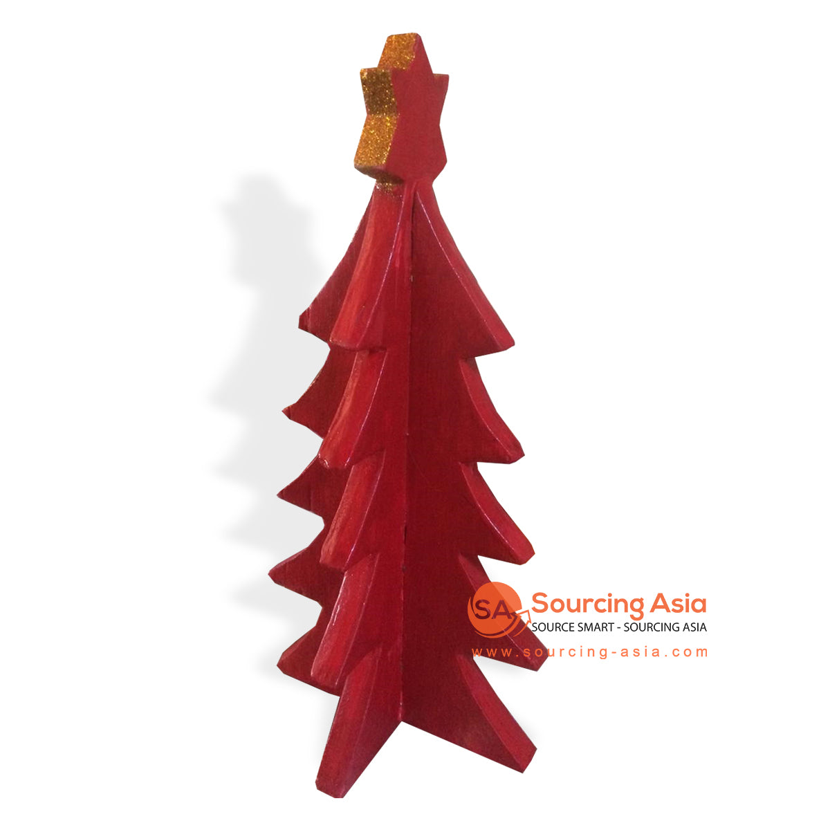 SUMAR092 WOODEN CHRISTMAS TREE RED