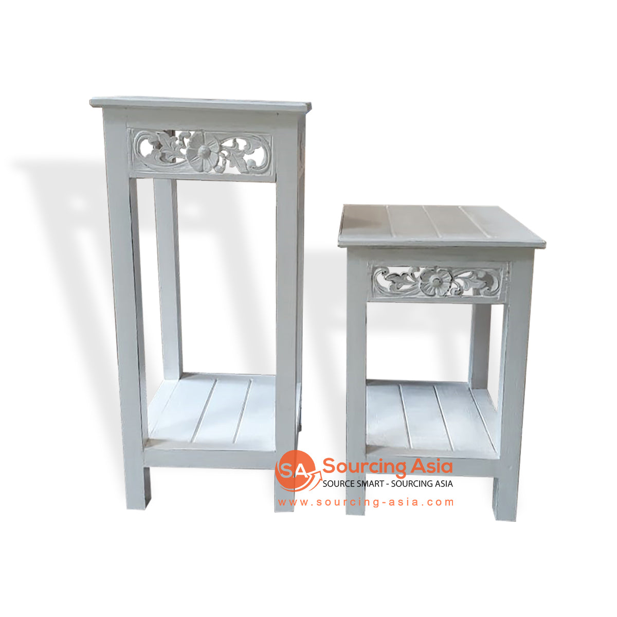 THE007-4 SET OF 2 CONSOLE DOUBLE WHITE WASH