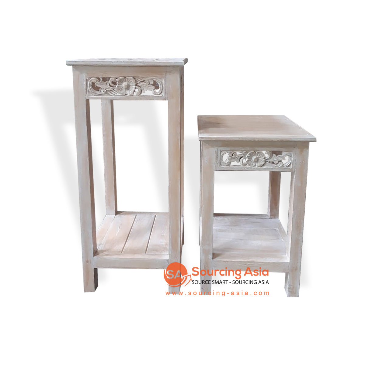 THE007-5 SET OF 2 CONSOLE BROWN WASH