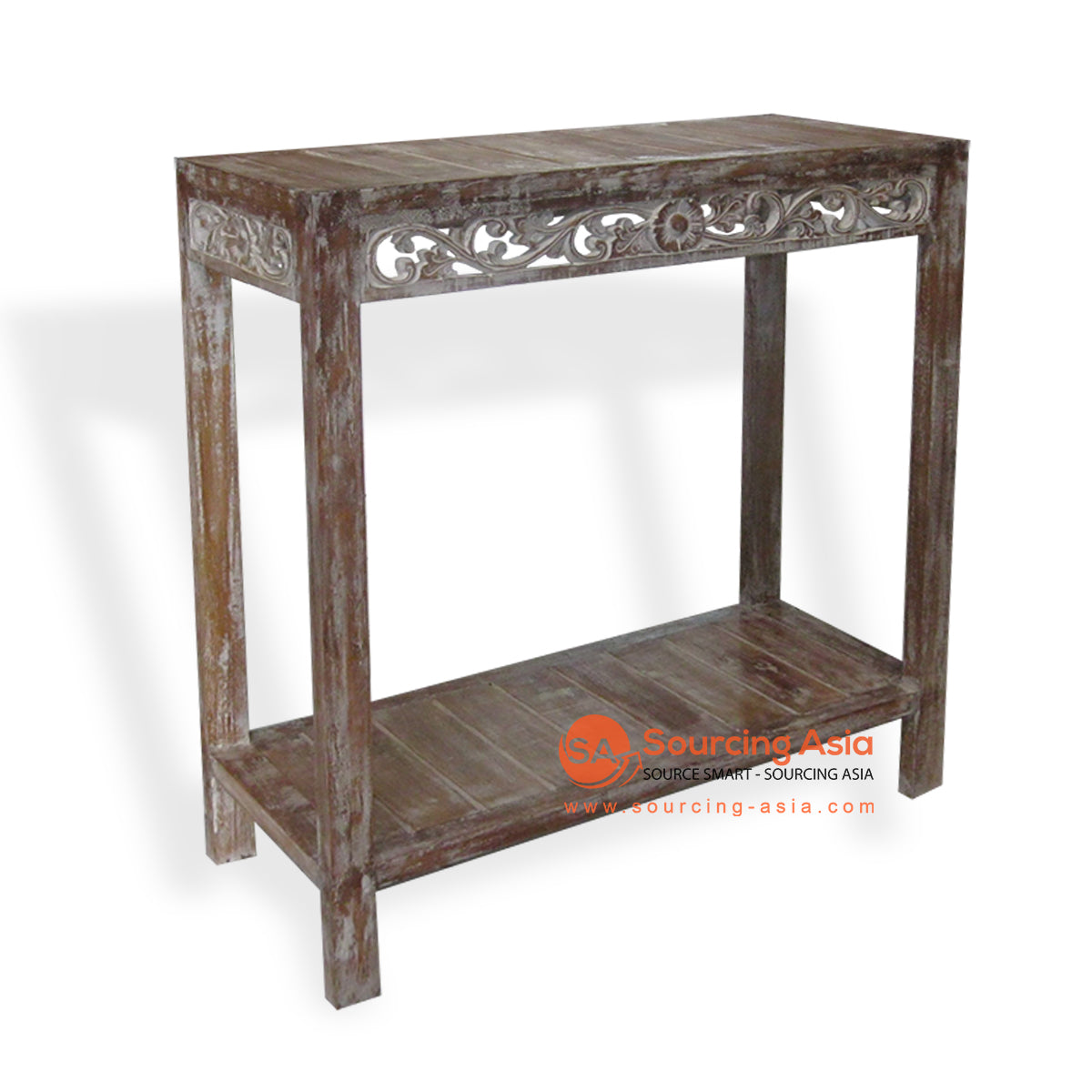 THE014-1 CONSOLE TABLE WITH CARVING LIGHT BROWN