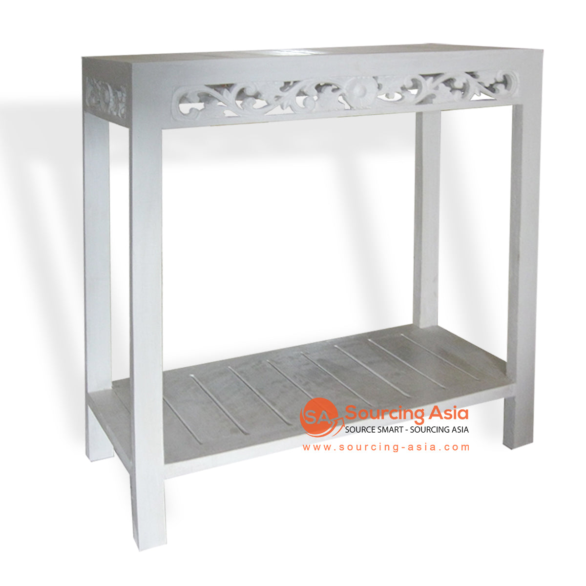 THE014 CONSOLE WITH CARVING WHITE WASH
