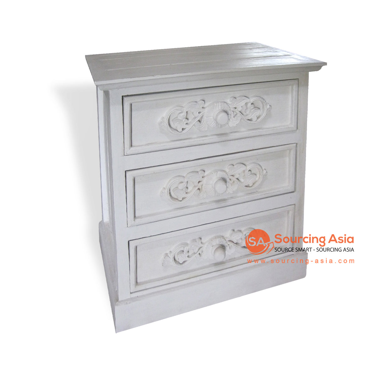 THE037 SIDE TABLE WITH 3 DRAWER WHITE WASH