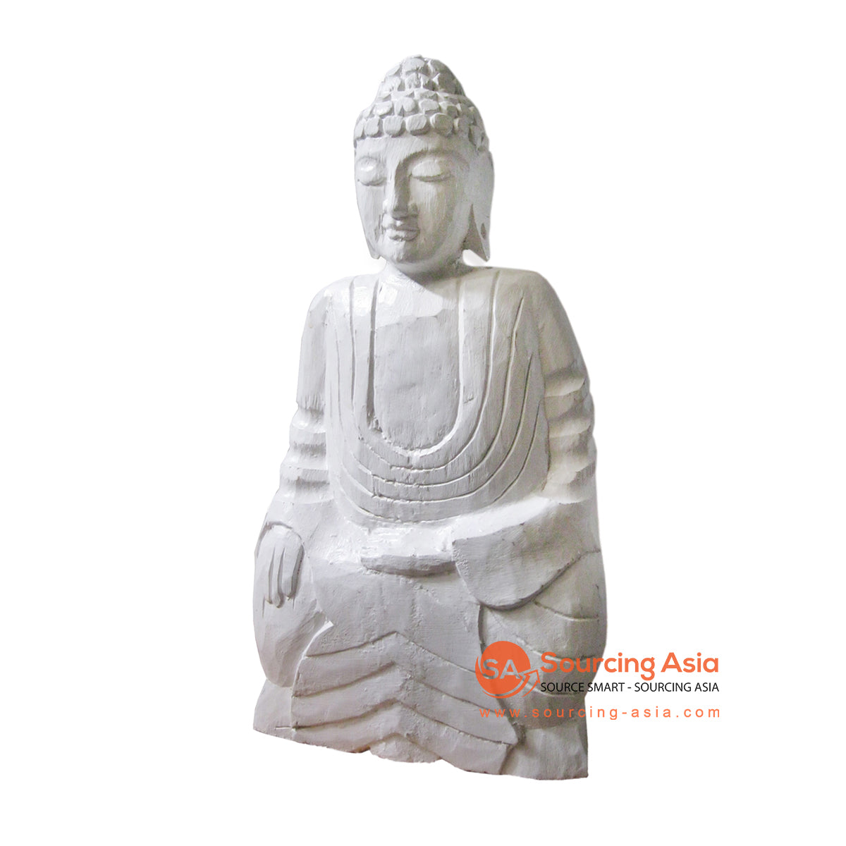 THE077-1 BUDDHA STATUE WHITE WASH