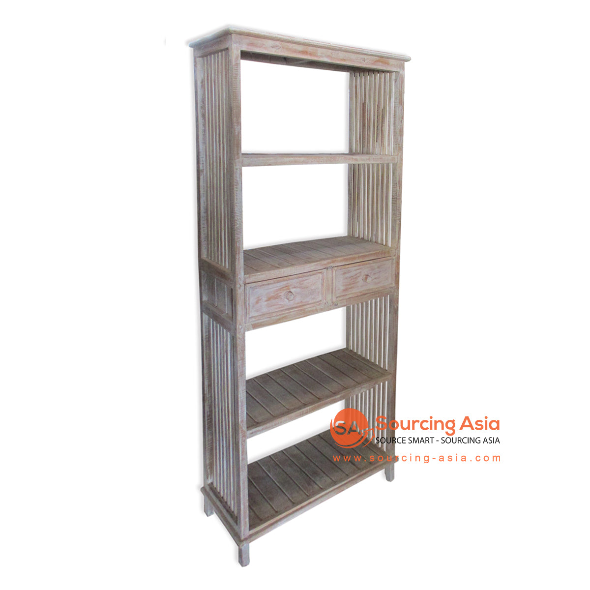 THE138BW BOOK RACK WITH 2 DRAWER BROWN WASH