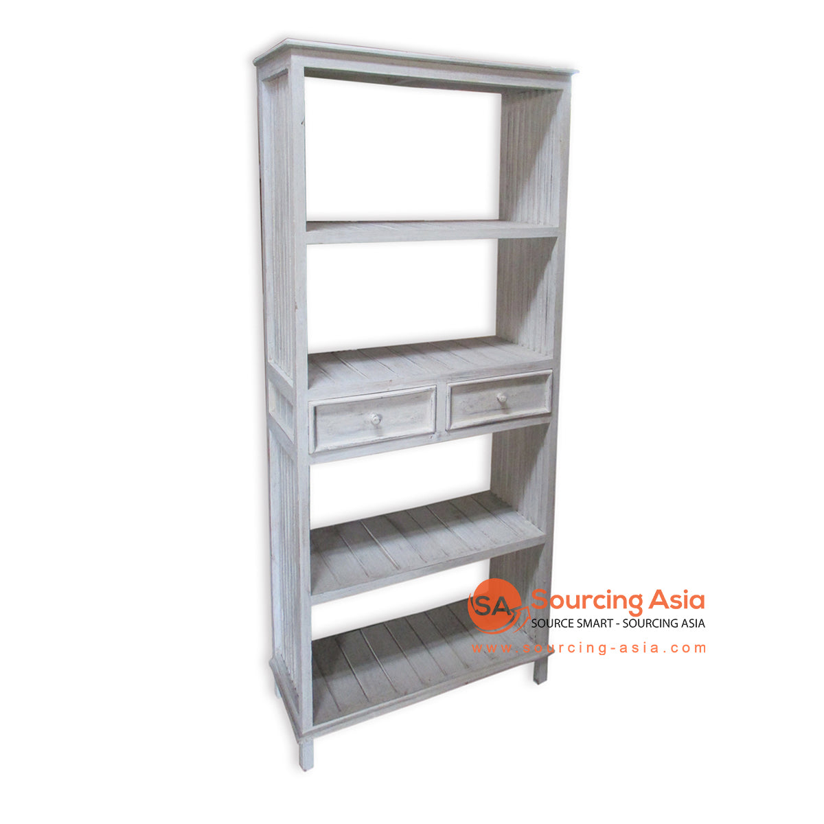 THE138WW BOOK RACK WITH 2 DRAWER WHITE WASH