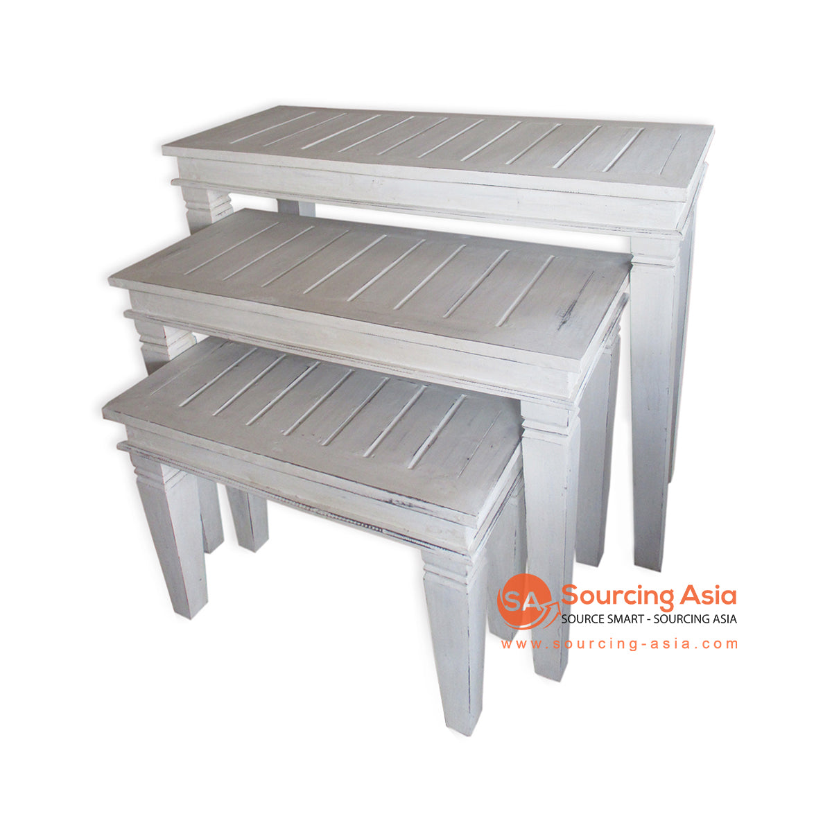 THE140WW SET OF 3 TABLE WHITE WASH