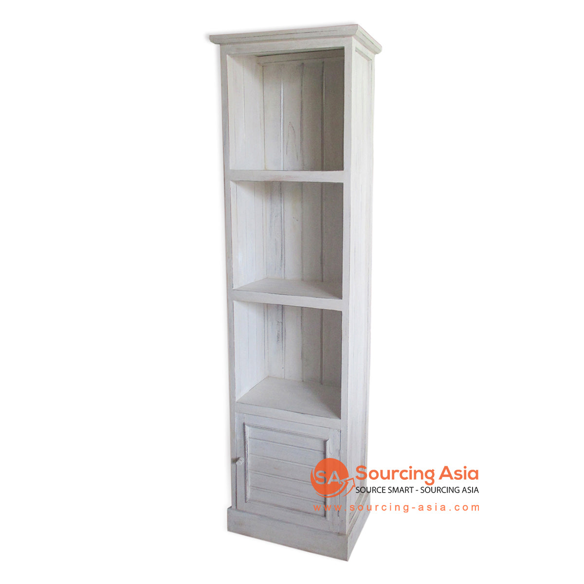 THE141WW BOOK RACK WITH 1 DRAWER WHITE WASH