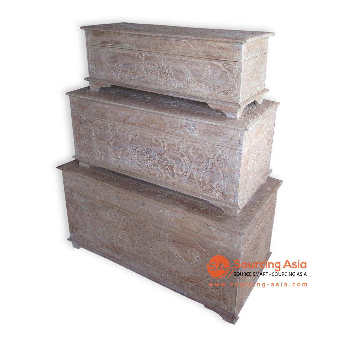 THE145BW-100 SET OF 3 CARVED WOODEN BOXES