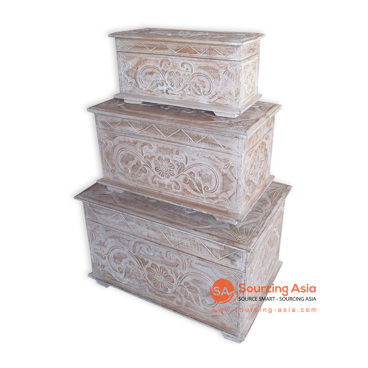 THE145BW SET OF 3 CARVED WOODEN BOXES