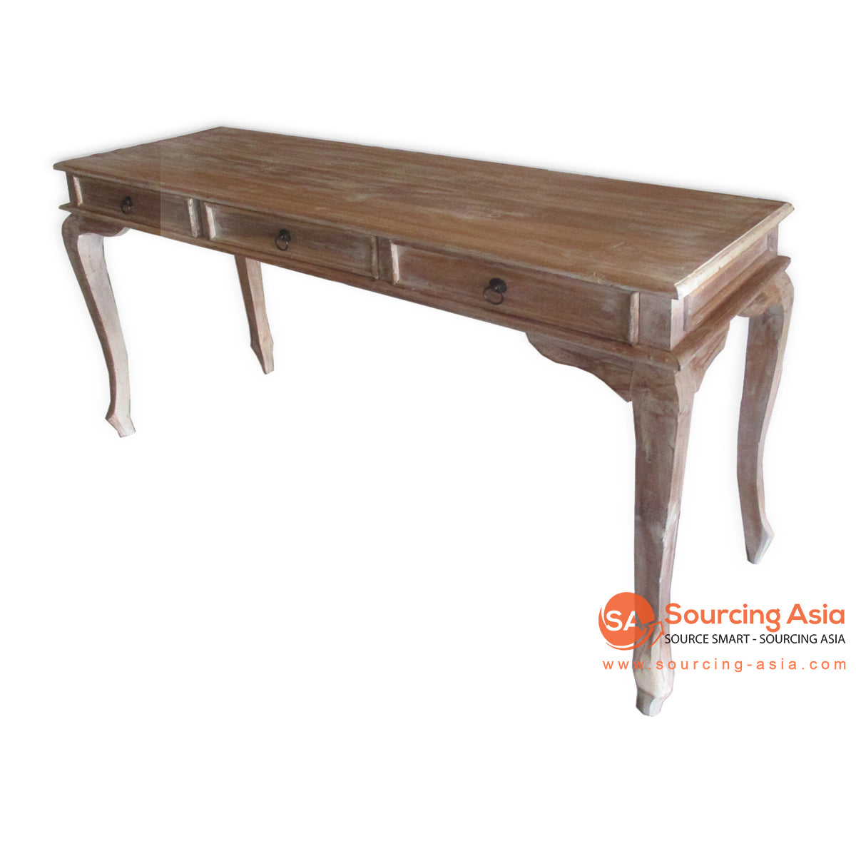 THE146 NATURAL WOODEN CONSOLE WITH 3 DRAWERS IN WHITEWASH FINISHES