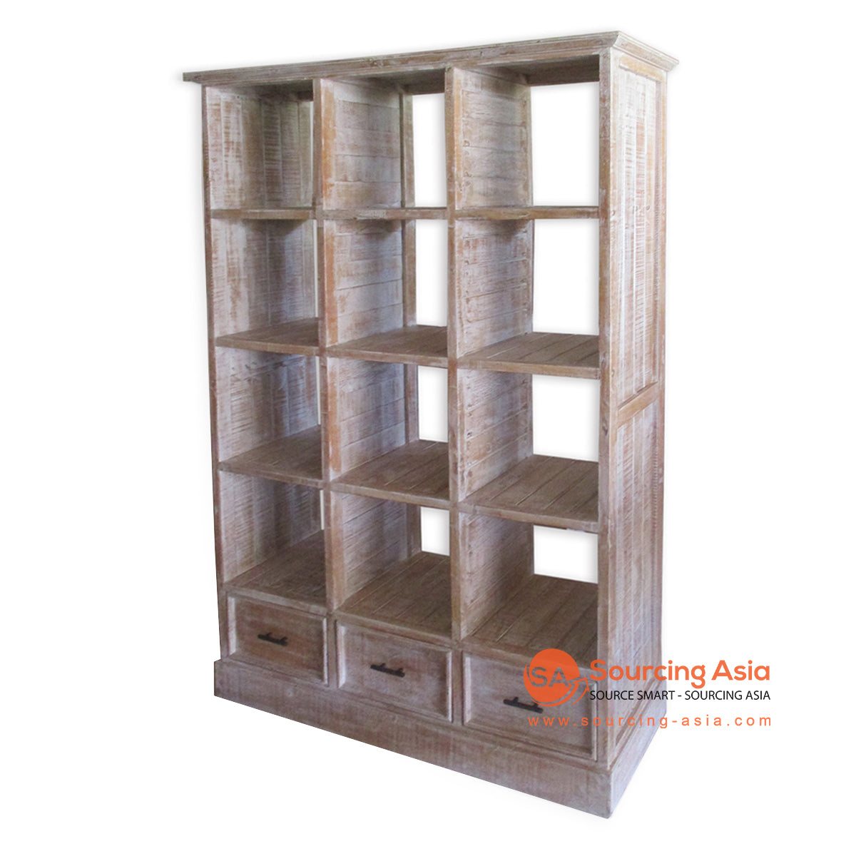 THE149BW WOODEN BOOK RACK WITH 3 DRAWERS