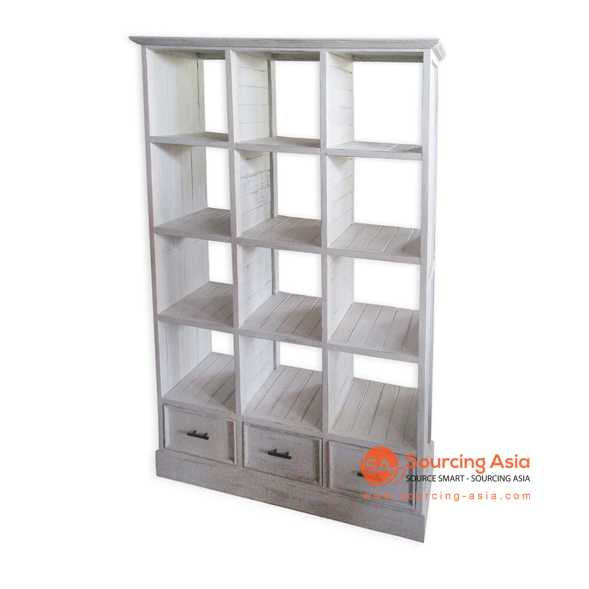 THE149WW WOODEN BOOK RACK WITH 3 DRAWERS
