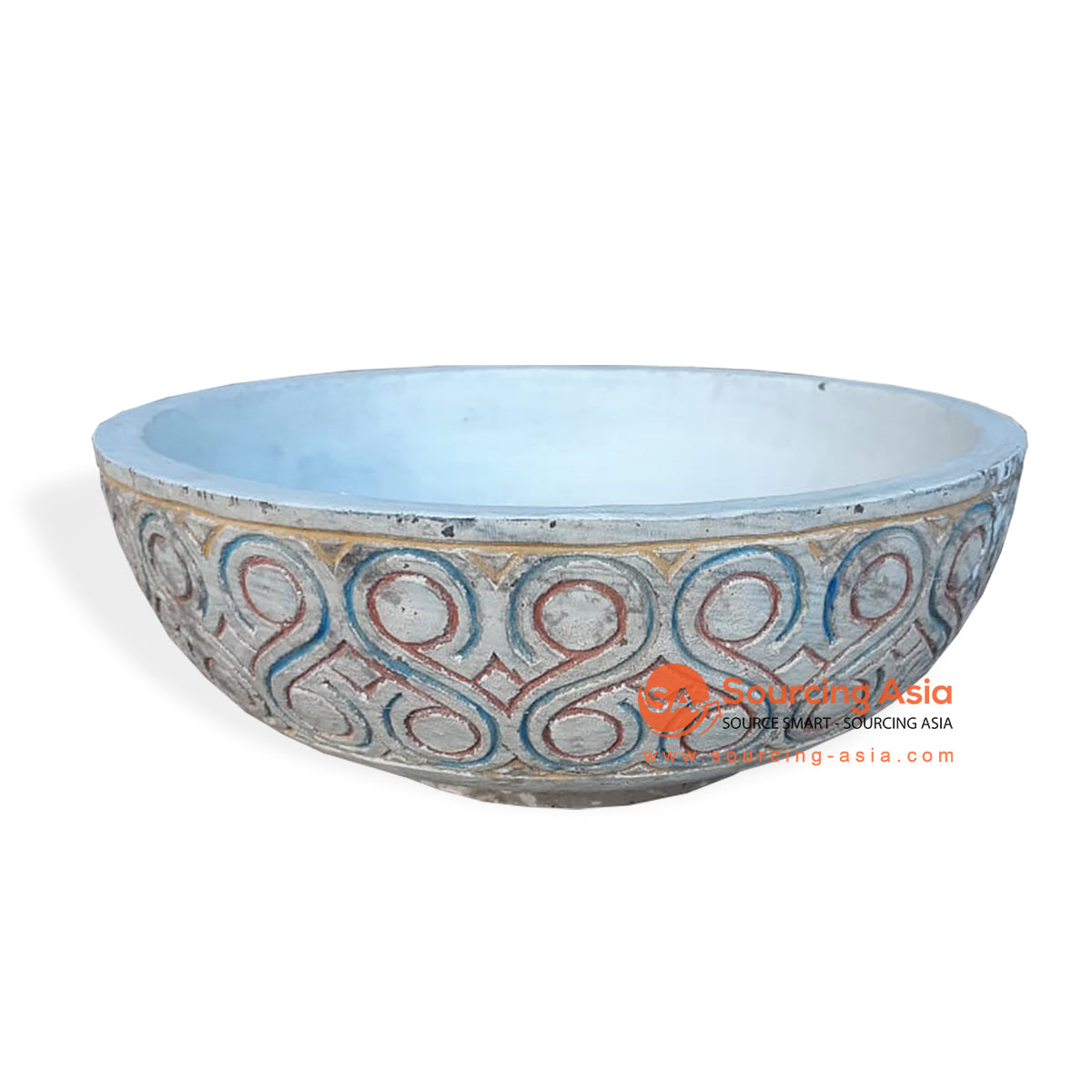 TKN043 CARVED ETHNIC TRIBAL STYLE BOWL