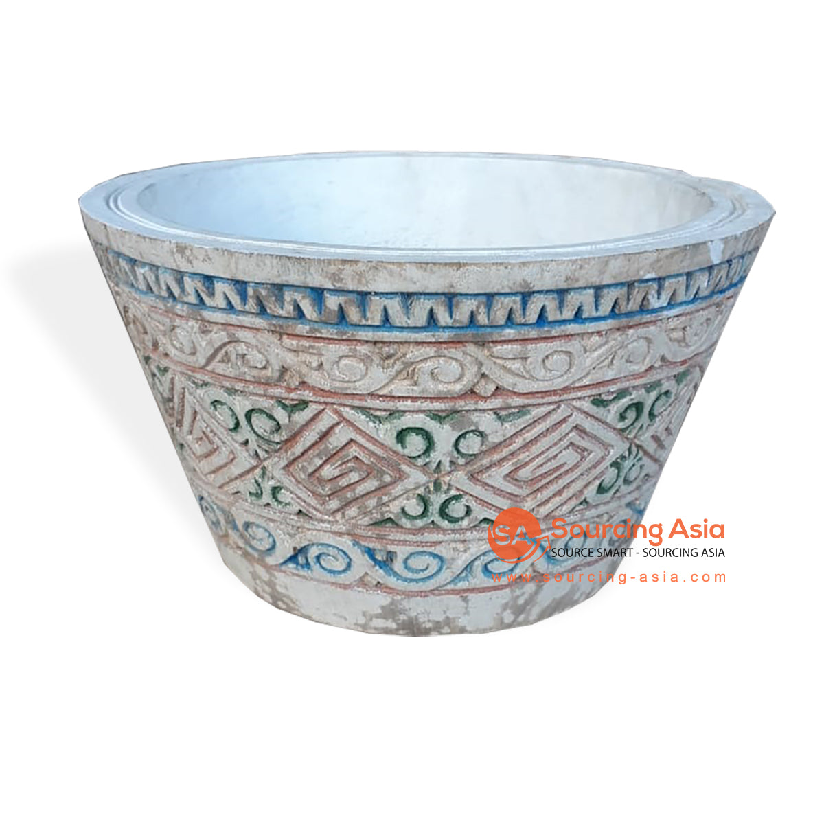 TKN044 CARVED ETHNIC TRIBAL STYLE BOWL