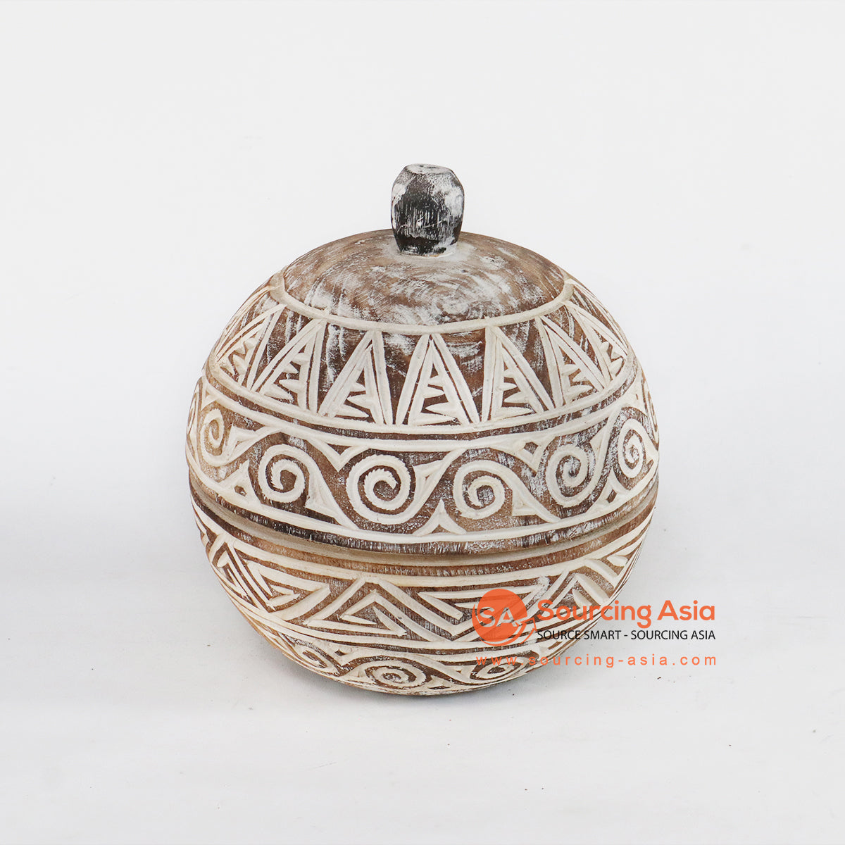 TKNC008 ETHNIC TRIBAL WOODEN BOWL WITH LID