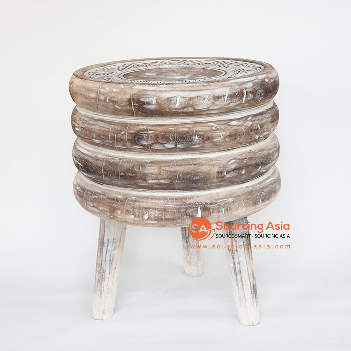 TKNC037 CARVED ETHNIC TRIBAL STYLE SIDE TABLE