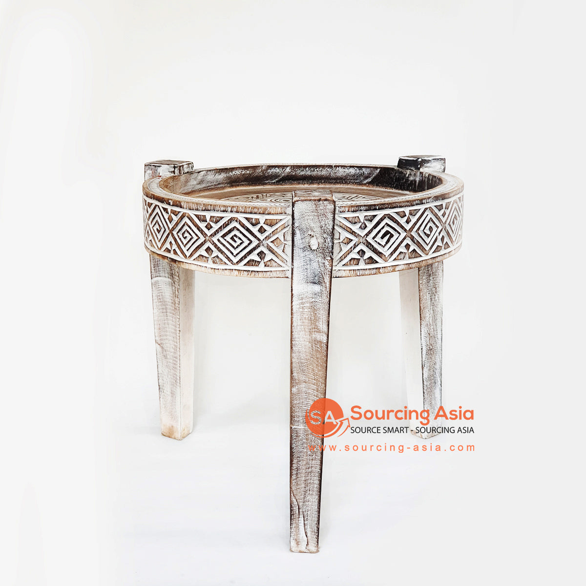 TKNC038 CARVED ETHNIC TRIBAL STYLE SIDE TABLE