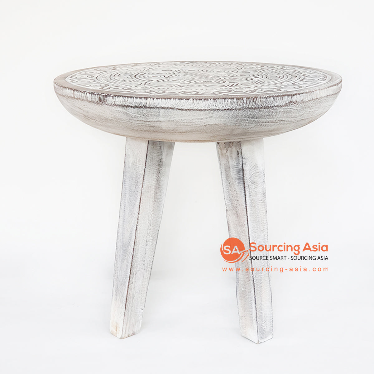 TKNC039 CARVED ETHNIC TRIBAL STYLE SIDE TABLE
