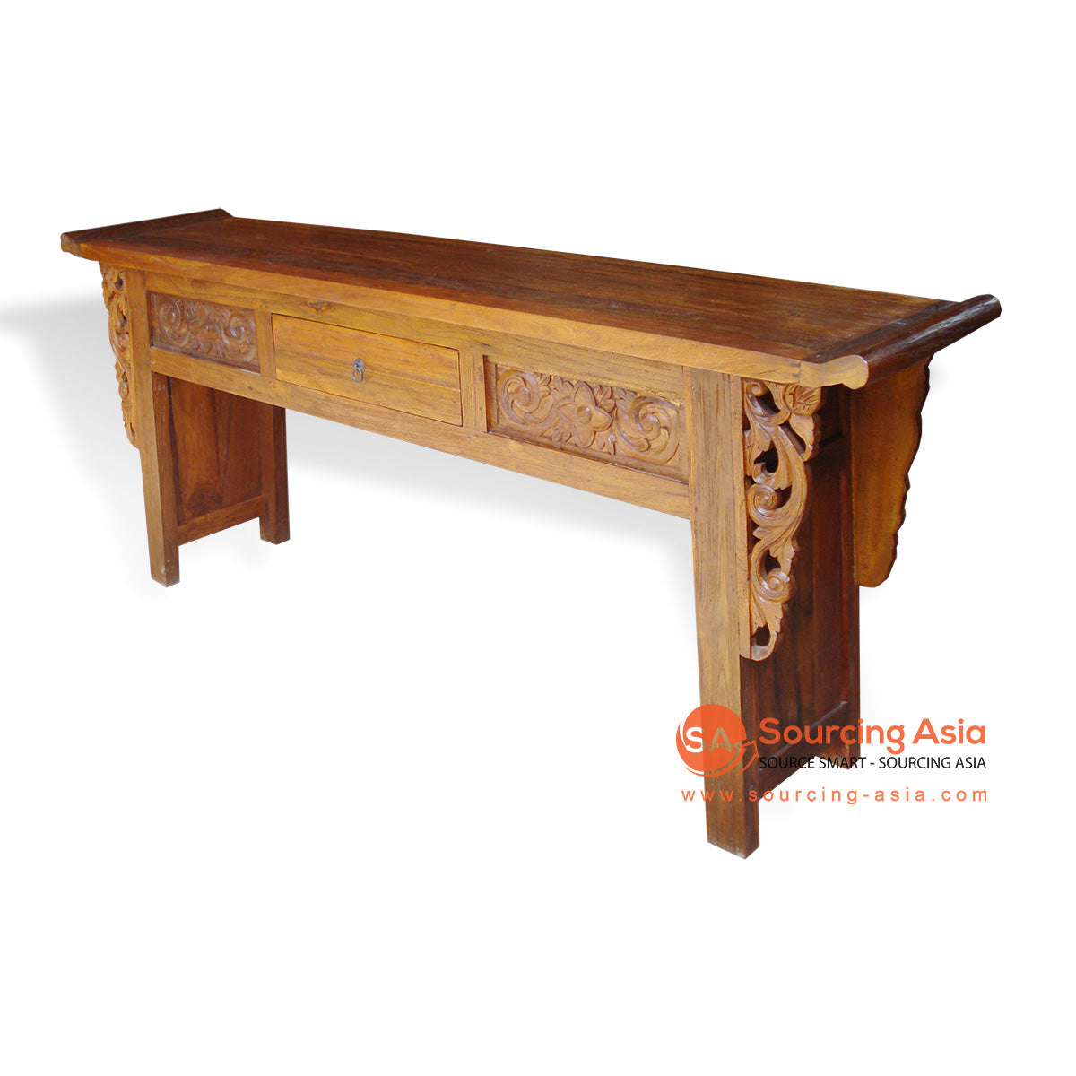 TRG178 CARVED SINGLE DRAWER CONSOLE